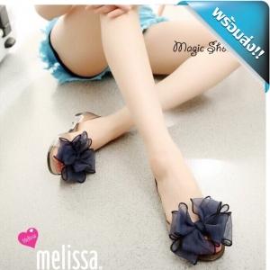 รองเท้าแตะรัดดส้นประดับดอกไม้ใหญ่ งานซิลิโคน (สีน้ำเงิน)