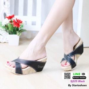 รองเท้าลำลองส้นเตารีดแบบสวม SJ225-BLK [สีดำ]