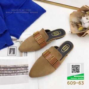 รองเท้าส้นแบน เปิดส้น Dior 609-63-KHA [สีกากี]