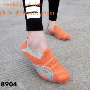 รองเท้าผ้าใบแฟชั่นสีส้ม ไร้เชือก สไตล์ Sport Girls (สีส้ม )