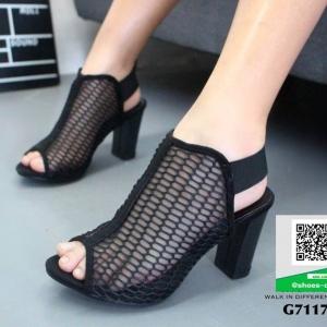 รองเท้าส้นตันสีดำ สไตล์เก๋ หุ้มหน้าผ้าตาข่าย (สีดำ )