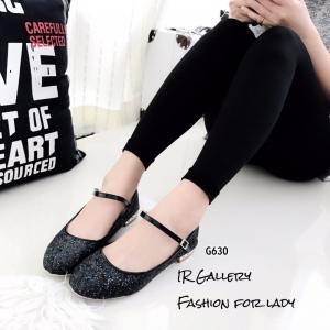 รองเท้าคัทชูส้นเตี้ยสีดำ หนังกลิตเตอร์ฟรุ้งฟริ้ง Style Miu Miu (สีดำ )