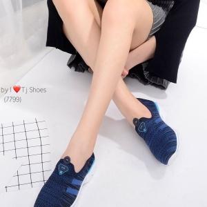 รองเท้าผ้าใบผู้หญิง เพื่อสุขภาพ น้ำหนักเบา STYLE SKECER (สีน้ำเงิน )