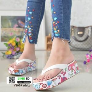 รองเท้าแตะคีบญี่ปุ่น V1009-ขาว [สีขาว]