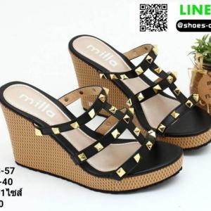 รองเท้าส้นเตารีดแบบสวมสวยเท่ 13-57-BLK [สีดำ]