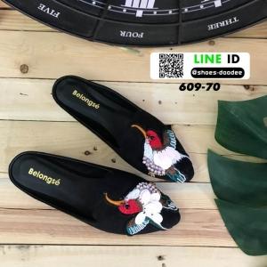 รองเท้าหนังสักหราดนิ่ม งาน slipper เปิดส้น 609-70-BLK [สีดำ]