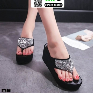 รองเท้าแตะหูหนีบทรงเตารีด ST8801-BLK [สีดำ]