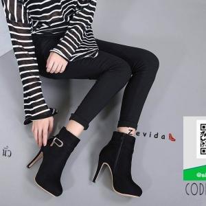 รองเท้าบูทหุ้มข้อสีดำ ซิปข้าง สไตล์ Korea (สีดำ )