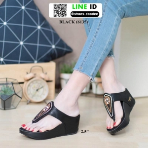 รองเท้าส้นเตารีด งานเพื่อสุขภาพ 6135-BLACK [สีดำ]