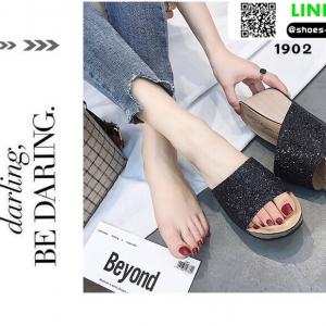 รองเท้าส้นเตารีด หน้าสวมหนังนิ่มแต่งกากเพชร 1902-BLK [สีดำ]