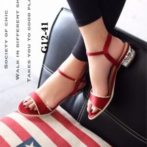 รองเท้าส้นเตี้ยรัดส้น ตัดขอบทอง (สีแดง )
