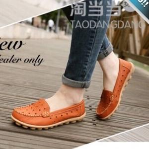 รองเท้าผ้าใบผู้หญิงสีส้ม รูเฟอร์หนังเจาะรู แบบสวม โชว์ลายตะเข็บ ทรงทันสมัย เหมาะกับวัยรุ่น แฟชั่นเกาหลี แฟชั่นพร้อมส่ง