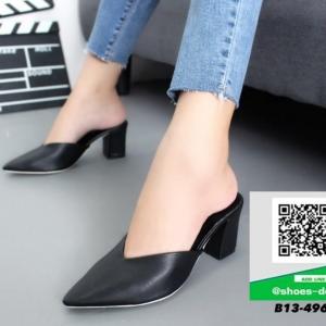 รองเท้าส้นตันสีดำ หัวแหลม หน้าวี (สีดำ )