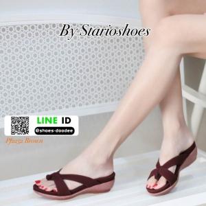 รองเท้าแตะลำลอง วัสดุหนัง PU PF2252-BWN [สีน้ำตาล]