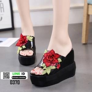 รองเท้าแตะลำลองมัฟฟิน ส้นเตารีด แต่งดอกกุหลาบ 0370-BLACK [สีดำ]