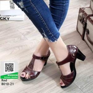 รองเท้าคัชชูหนังแกะ #ส้นสูงหนังแกะ แท้ 100% 8010-21-แดง [สีแดง]