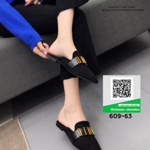 รองเท้าส้นแบน เปิดส้น Dior 609-63-BLK [สีดำ]