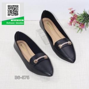 รองเท้าคัทชูส้นเตี้ยสีดำ หัวแหลม พื้นนิ่ม (สีดำ )