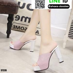รองเท้านำเข้า100% ส้นแท่งแบบสวม ST335-PNK [สีชมพู]
