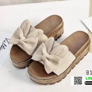 รองเท้าแตะส้นตึกแต่งโบว์ 816-CRM [สีครีม]