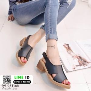 รองเท้าส้นตัน แบบเกาหลีงานขายดีเวอร์ 991-23-ดำ [สีดำ]