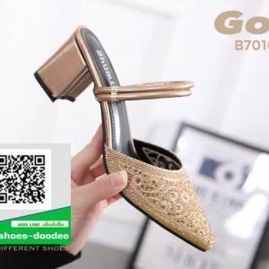 รองเท้าส้นตันเปิดส้น หัวแหลม B7010-5-GLD [สีทอง]