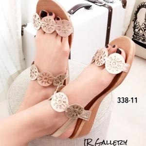 รองเท้าแตะผู้หญิงสีทอง รัดส้น ผ้าซาติน ส้นยางพารา (สีทอง )