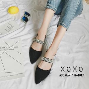 รองเท้าส้นเตี้ยหัวแหลมสีดำ น้ำหนักเบา ประดับเพชร (สีดำ )