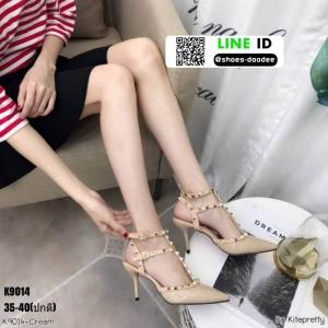 รองเท้าคัชชูส้นเข็มเปิดส้น งานสไตล์valentino K9014-CRM [สีครีม]