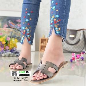 รองเท้าแตะหน้า H J332-GREY [สีเทา]
