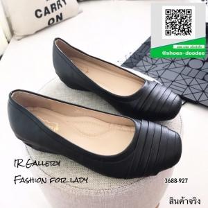 รองเท้าคัทชูส้นเตี้ยสีดำ แต่งหนังซ้อน (สีดำ )