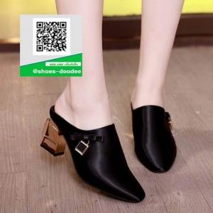รองเท้าส้นตันเปิดส้นสีดำ แบบสวม สไตล์เกาหลี (สีดำ )