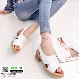 รองเท้าส้นตัน แบบเกาหลีงานขายดีเวอร์ 991-23-ขาว [สีขาว]