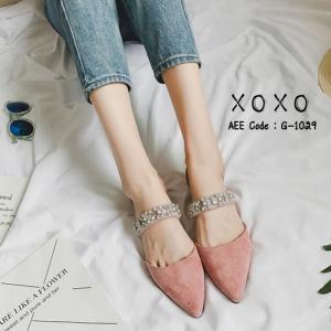 รองเท้าส้นเตี้ยหัวแหลมสีชมพู น้ำหนักเบา ประดับเพชร (สีชมพู )