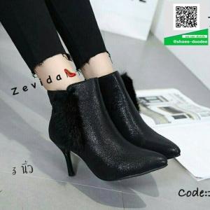 รองเท้าบูทส้นเข็มสีทอง Ankle boot ผ้าพีวีซีเมทัลลิค (สีทอง )