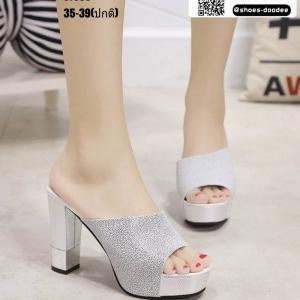 รองเท้าส้นสูง ส้นแท่งแบบสวม ST335-WHI [สีขาว]