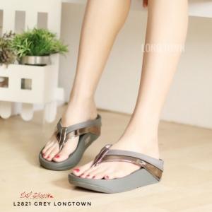 รองเท้าแตะเพื่อสุขภาพสีเทา แบบคีบ สายคาดแถบโทนเมทัลลิค (สีเทา )
