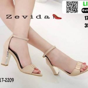 รองเท้าส้นเหลี่ยมรัดข้อหุ้มส้น 17-2209-CRM [สีครีม]