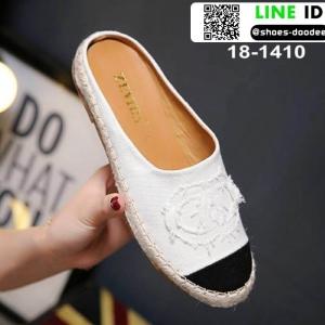 รองเท้าเปิดส้น Chanel canvas style 18-1410-WHI [สีขาว]