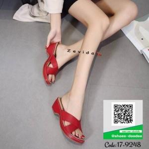 รองเท้าแตะเพื่อสุขภาพสีแดง คาดหน้าทรงกากบาท (สีแดง )