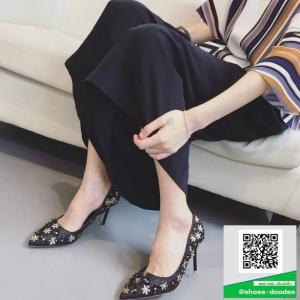 รองเท้าคัทชูส้นเข็มสีดำ หัวแหลม Style Chanel (สีดำ )