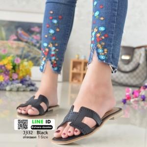 รองเท้าแตะหน้า H J332-ดำ [สีดำ]