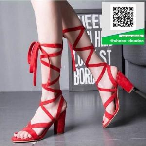 รองเท้าส้นสูงพันข้อสีแดง หนังกลับ (สีแดง )