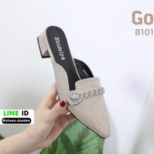 รองเท้าเปิดส้น miu miu B1012-1-GLD [สีทอง]