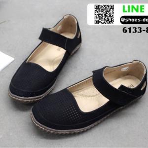 รองเท้าส้นเตี้ย สไตล์สุขภาพ 6133-83-BLK [สีดำ]