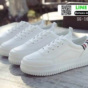 รองเท้าผ้าใบหนัง pu นิ่มสีเรียบ SG-167-WHT-STR [สีขาว/ลาย]
