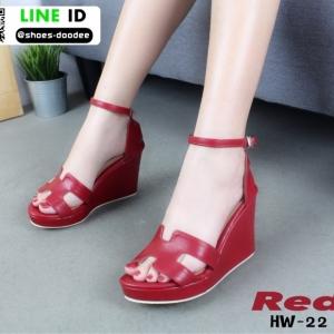 รองเท้าลำลองส้นเตารีด สไตล์แบรนด์ HERMES HW-22-RED [สีแดง]
