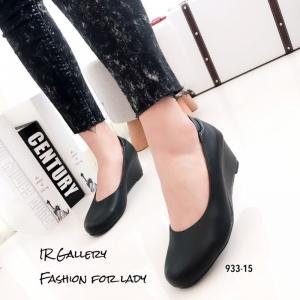 รองเท้าคัทชูส้นเตารีดสีดำ หนังนิ่ม ลุคเรียบหรู (สีดำ )