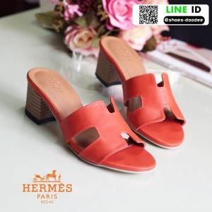 รองเท้าส้นตัน สไตล์สวมลำลอง งานหนังพียูนิ่ม H22-01B3-ORA [สีส้ม]