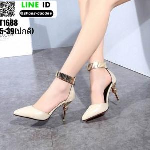 รองเท้าส้นเข็มหุ้มส้นรัดข้อเว้าข้าง ST1688-CRM [สีครีม]